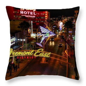 Fremont Street East Throw Pillow
