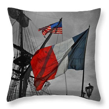 French And American Friendship Throw Pillow