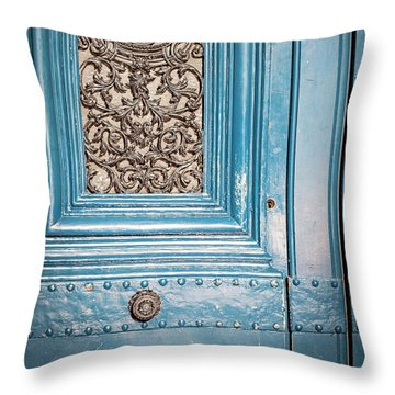 Throw Pillow featuring the photograph French Blue - Paris Door by Melanie Alexandra Price