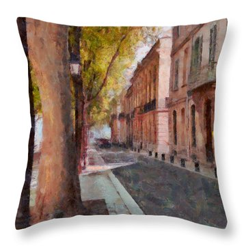 Throw Pillow featuring the photograph French Boulevard by Scott Carruthers