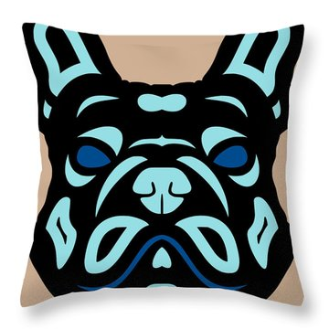 French Bulldog Francis - Dog Design - Hazelnut, Island Paradise, Lapis Blue Throw Pillow