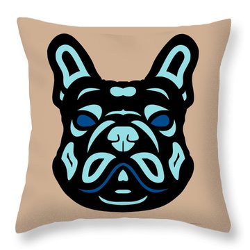 French Bulldog Francis - Dog Design - Hazelnut, Island Paradise, Lapis Blue Throw Pillow