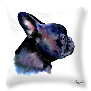 Throw Pillow featuring the painting French Bulldog Portrait by Christy  Freeman