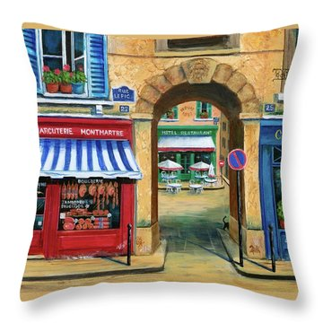 French Butcher Shop Throw Pillow by Marilyn Dunlap
