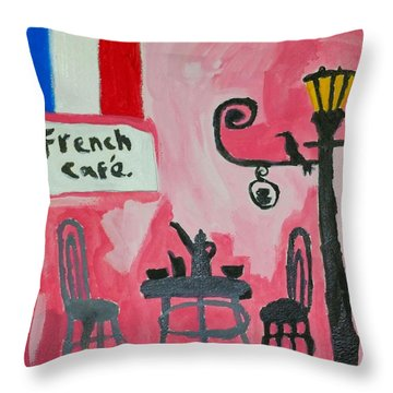 Throw Pillow featuring the painting French Cafe by Artists With Autism Inc