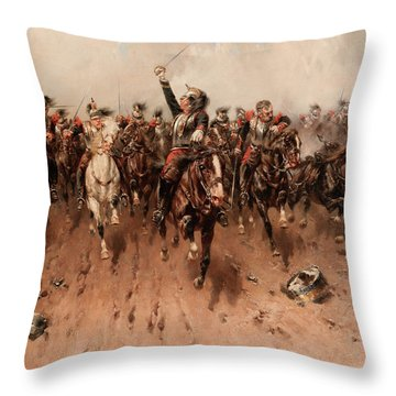 French Cavalry Charging Throw Pillow