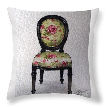 Throw Pillow featuring the painting French Chair by Sandra Phryce-Jones
