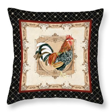 French Country Roosters Quartet Black 1 Throw Pillow