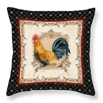 French Country Roosters Quartet 4 Throw Pillow
