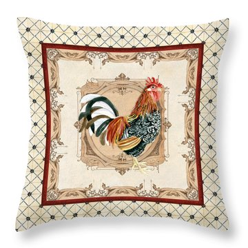 French Country Roosters Quartet Cream 1 Throw Pillow