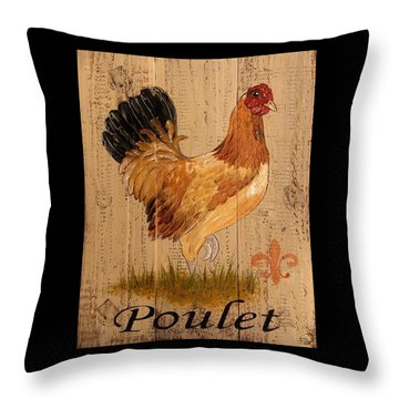 French Country Shabby Cottage Poulet Hen Throw Pillow