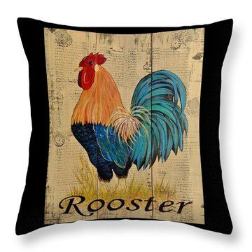French Country Shabby Cottage Rooster Throw Pillow