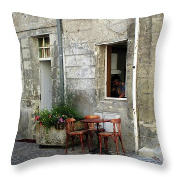 French Countryside Corner Throw Pillow by Joan  Minchak