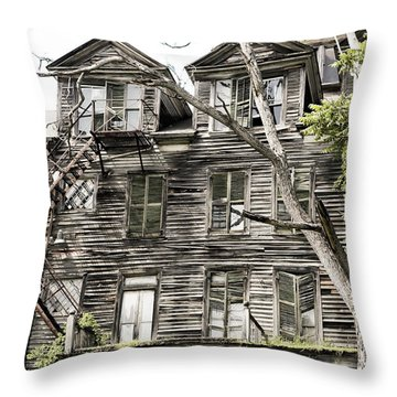 Throw Pillow featuring the photograph French Doors And Fire Escapes by Carol Lynn Coronios