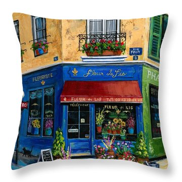 French Flower Shop Throw Pillow