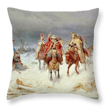 French Forces Crossing The River Berezina In November 1812 Throw Pillow by Bogdan Willewalde