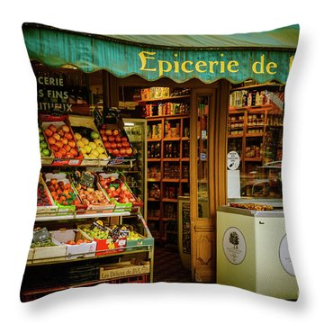 French Groceries Throw Pillow