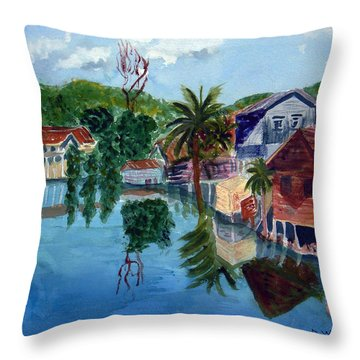 French Harbor Isla De Roatan Throw Pillow by Donna Walsh