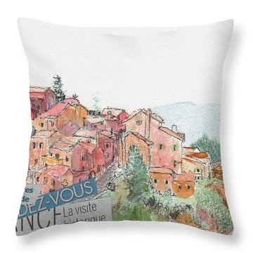 French Hill Top Village Throw Pillow