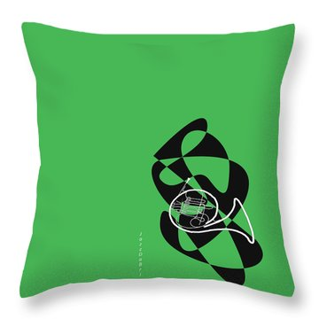 French Horn In Green Throw Pillow
