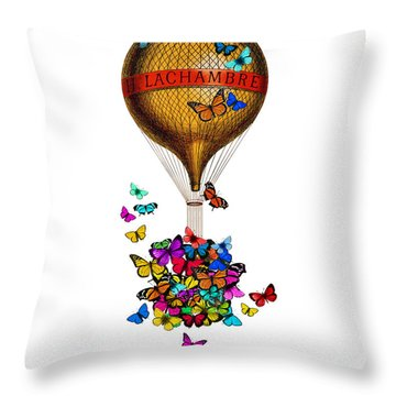 French Hot Air Balloon With Rainbow Butterflies Basket Throw Pillow