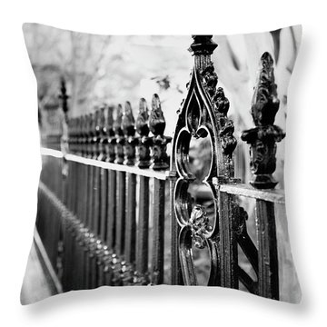 Throw Pillow featuring the photograph French Huguenot Church Fence by Heather Green