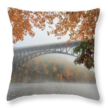 French King Bridge Autumn Fog Throw Pillow by John Burk
