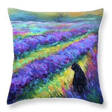 French Lavender Kitty Throw Pillow