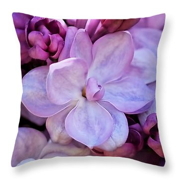 French Lilac Flower Throw Pillow by Rona Black
