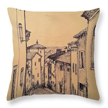 French Little Town Drawing Throw Pillow