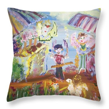 French Market Fairies Throw Pillow by Judith Desrosiers