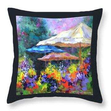 French Market Flower Garden Throw Pillow by Nancy Medina