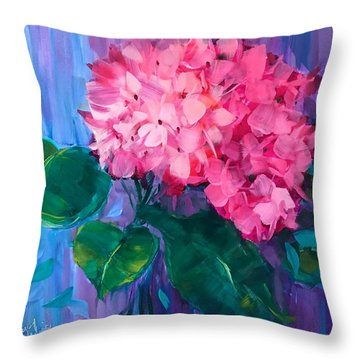 French Pink Hydrangea Throw Pillow
