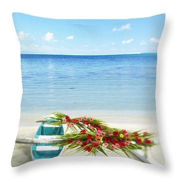 French Polynesia, Huahine Throw Pillow by Kyle Rothenborg - Printscapes