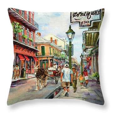 French Quarter Antiques Throw Pillow
