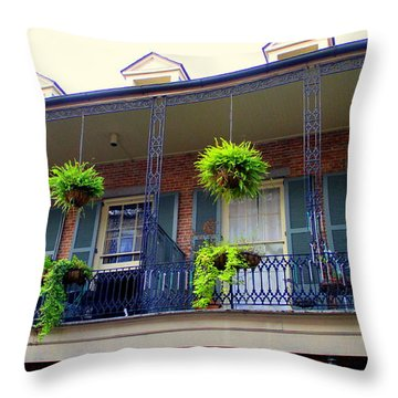 French Quarter Balcony Throw Pillow