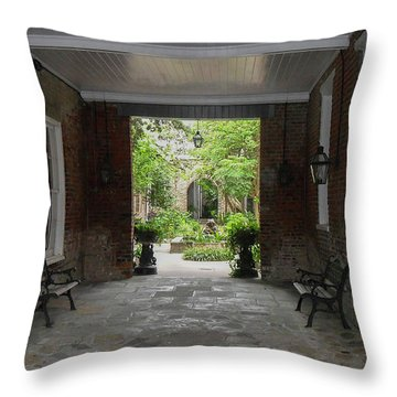 French Quarter Courtyard Throw Pillow