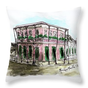 Throw Pillow featuring the painting French Quarter by Monique Faella