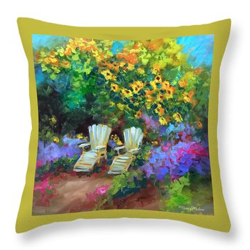 French Rest Stop Throw Pillow by Nancy Medina