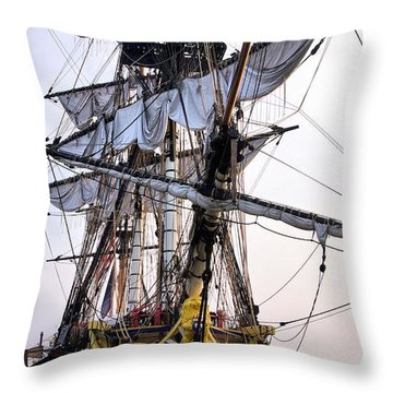 French Tall Ship Hermione  Throw Pillow by John S