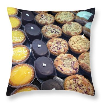Throw Pillow featuring the photograph French Tarts by Therese Alcorn