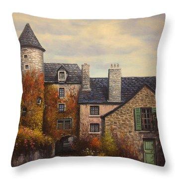 French Town Courtyard Throw Pillow