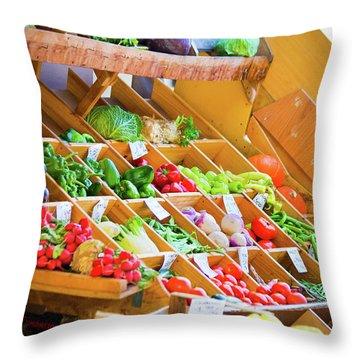 French Vegetable Market 2 Throw Pillow