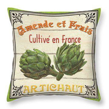 French Vegetable Sign 2 Throw Pillow by Debbie DeWitt