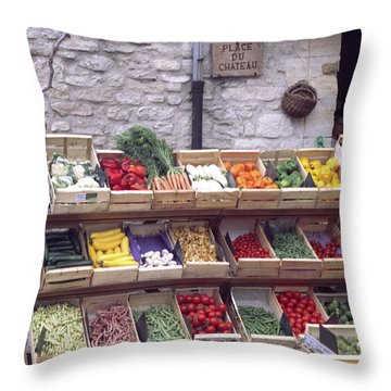 French Vegetable Stand Throw Pillow
