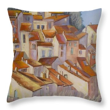 Throw Pillow featuring the painting French Villlage Painting by Chris Hobel