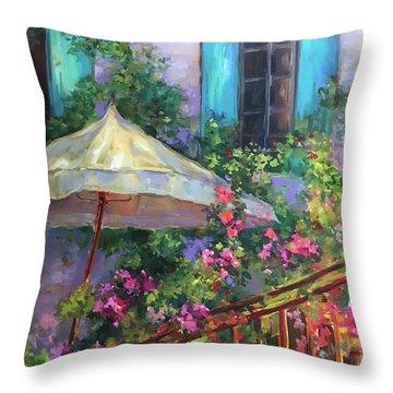 French Violet Garden Sanctuary Throw Pillow