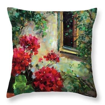 French Window Peeper Geraniums Throw Pillow