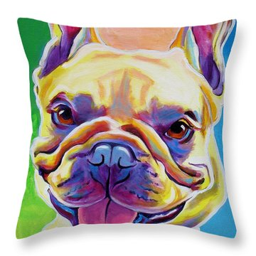 Frenchie - Ernest Throw Pillow by Alicia VanNoy Call