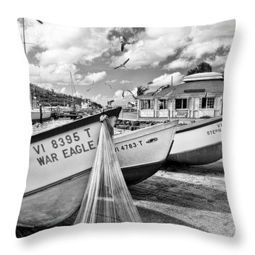 Frenchtown Fishing Boats 1 Throw Pillow